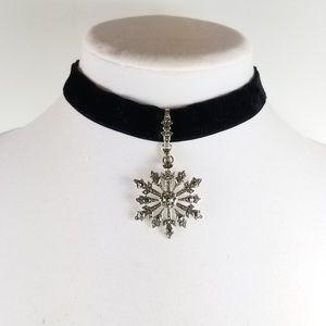 Suspicion Silver Marcasite Snowflake Velvet Choker
